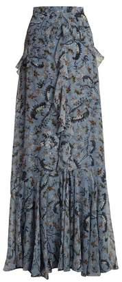Erdem Alison Paisley Vine Print Silk Maxi Skirt - Womens - Blue Print