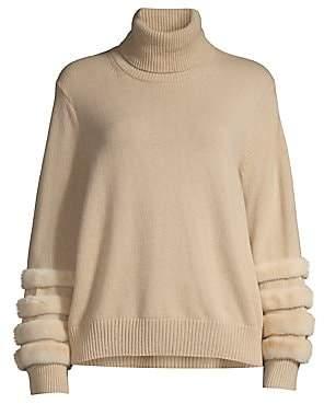 Lafayette 148 New York Women's Mink Fur-Trim Cashmere Turtleneck Sweater