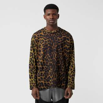 Burberry Leopard Print Cotton Oversized Top