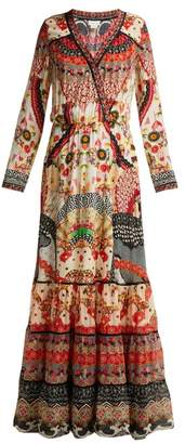 Camilla Vintage Vixen Print Silk Maxi Dress - Womens - Red Multi