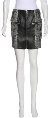The Kooples Leather-Accented Mini Skirt