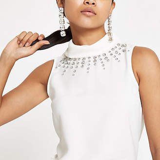 River Island Petite white embellished high neck top