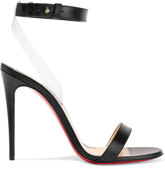Christian Louboutin - Jonatina Leather And Pvc Sandals - Black $795 thestylecure.com
