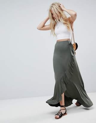 Asos DESIGN Jersey Maxi Skirt with Wrap and Belt Detail