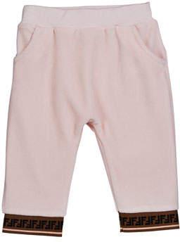 Fendi Girl's Velour Sweatpants w/ Logo Trim, Size 12-24 Months