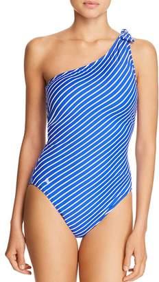 Ralph Lauren Striped One-Shoulder One Piece Swimsuit