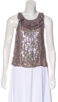 3.1 Phillip Lim Sequined Ruffle-Accented Top