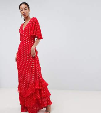 Asos Tall DESIGN Tall Tiered Metallic Maxi Dress