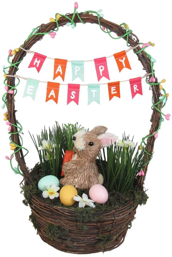 Celebrate Easter Together Sisal Bunny Basket Decor