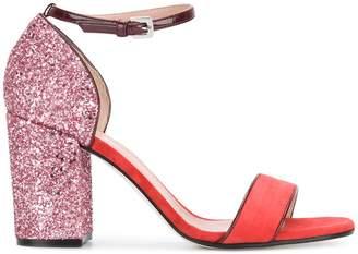 Pollini block heel glitter sandals