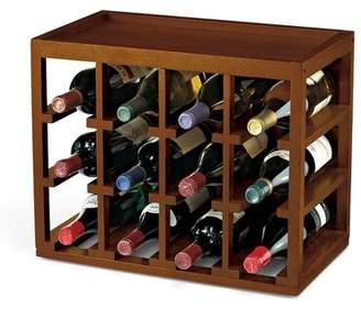 Vintage 12 Bottle Cube-Stack Wine Rack (Walnut Stain Vintage