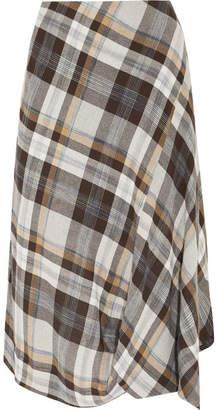 Vivienne Westwood Anglomania - Vasari Asymmetric Tartan Brushed-twill Skirt - Gray