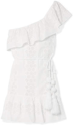 Miguelina Summer One-shoulder Crocheted Cotton-voile Mini Dress