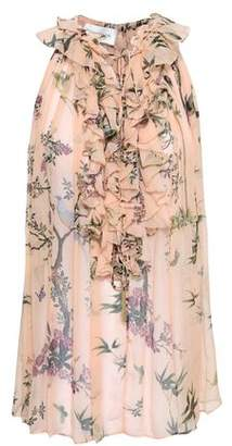 Zimmermann Maples Ruffle Floral-Print Silk-Georgette Blouse