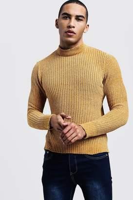 boohoo Chenille Turtle Neck Sweater