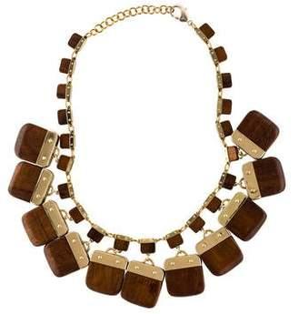 Tory Burch Wood Tina Charm Necklace