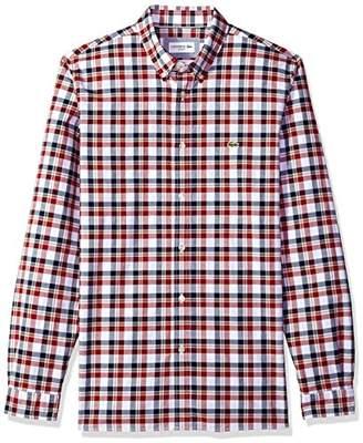 Lacoste Men's Long Sleeve Oxford Extensible Check Slim Woven Shirt