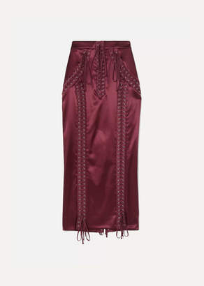 Dolce & Gabbana Lace-up Stretch-satin Midi Skirt - Crimson
