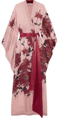 Carine Gilson - Floral-print Silk-satin Robe - Pastel pink