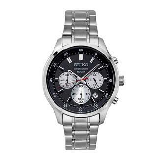 Seiko Chronograph Mens Silver Tone Bracelet Watch-Sks593