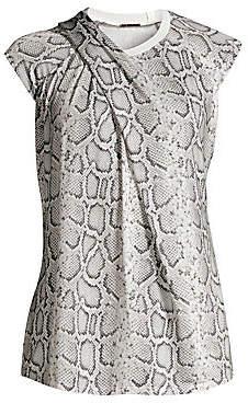 0b3297657369 Elie Tahari Women's Kourtney Snake Skin Print Draped Top