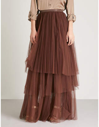 Brunello Cucinelli Bead-embellished tulle maxi skirt