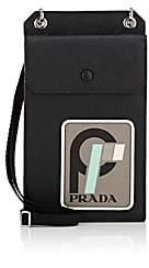 Prada Men's Logo Vertical Leather Pouch-Black