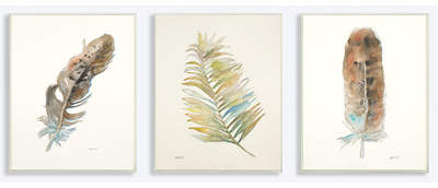 Wayfair Watercolor Feather 3 Piece Photographic Print Set Wall Plaque