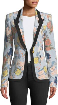 Smythe Border Peaked Lapel Single-Breasted Floral-Print Blazer