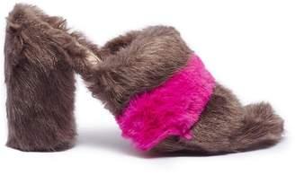Sam Edelman 'Yael' colourblock stripe faux fur mules