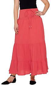 Denim & Co. Gauze Tiered Skirt with Waist TieDetail