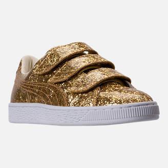 Puma Women's Basket Strap Glitter Casual Shoes