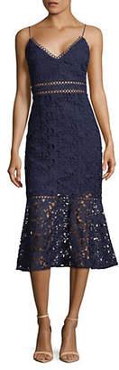 Laundry by Shelli Segal Sleeveless Lace Ruffle Hem Dress