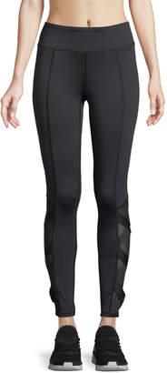 Neiman Marcus Crisscross-Mesh-Side Leggings