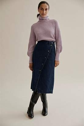 Country Road High Waist Wrap Denim Skirt