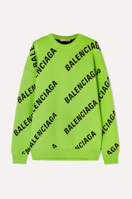 5c23a3d4b57f Balenciaga Oversized Intarsia Cotton-blend Sweater - Green