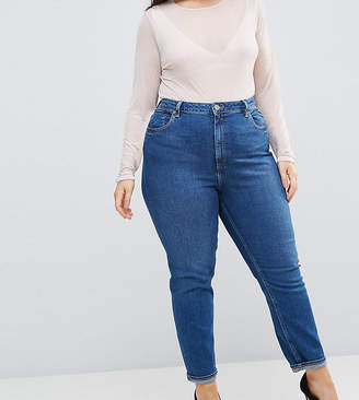 Asos DESIGN Curve Farleigh high waist slim mom jeans in blossom darkwash