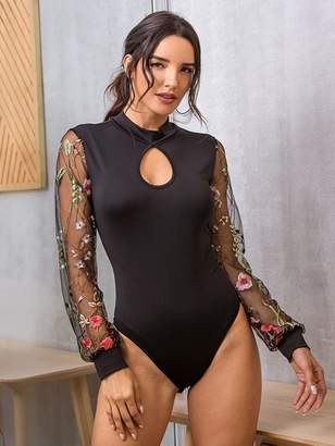 Shein Embroidered Mesh Cuff Cut Out Bodysuit