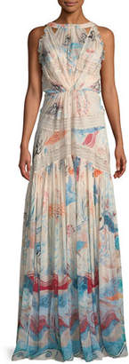 Murad Zuhair High-Neck Sleeveless Fresco-Print Silk Long Dress