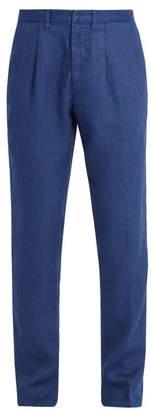 120% Lino Slim Leg Linen Trousers - Mens - Navy