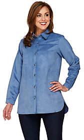 Joan Rivers Classics Collection Joan Rivers Long Sleeve Faux SuedeBoyfriend Shirt