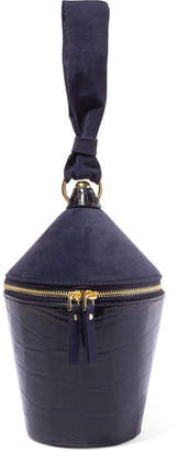 STAUD - Minnow Suede And Croc-effect Leather Tote - Navy