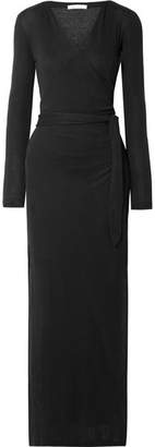 Skin - Adalia Organic Pima Cotton-jersey Wrap Maxi Dress - Black