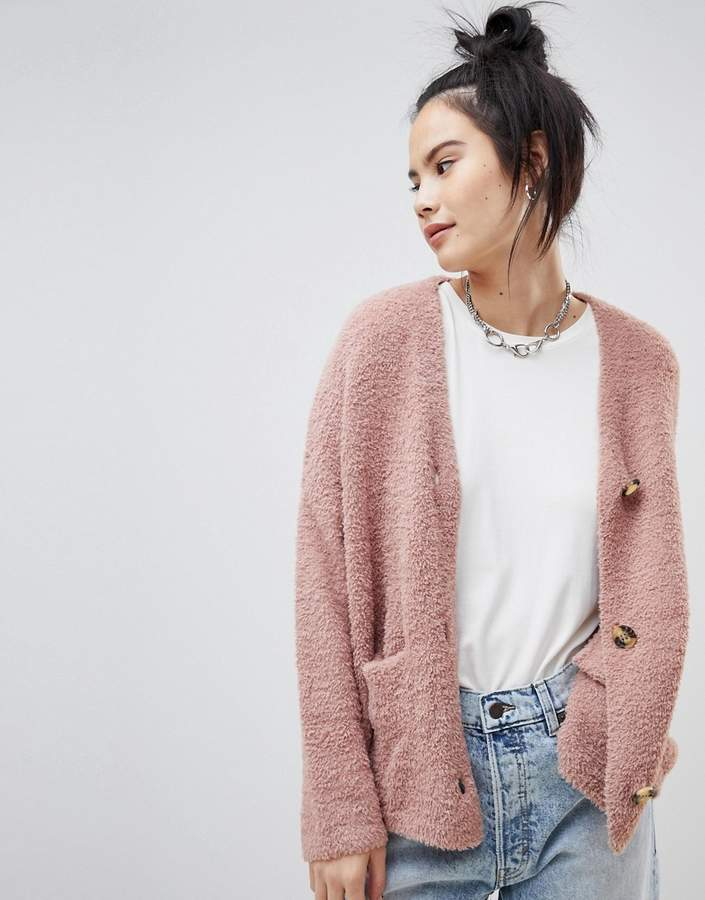 button front cardigan in pink