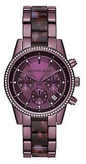 Michael Kors Women's Ritz Pavé Purple Stainless Steel Bracelet Chronograph Watch
