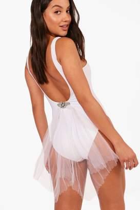 boohoo Bridal Diamante Brooch With Netting
