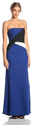 BCBGMAXAZRIA Women's Audrianna Strapless Colorblock Evening Gown