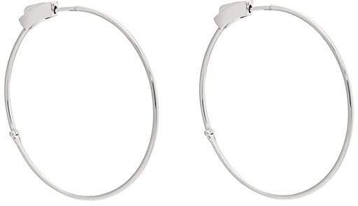 Women's White Gold Hinged Hoop Earrings