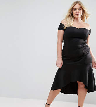 Club L Plus Bardot Peplum Hem Dress