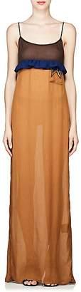 Prada Women's Colorblocked Plissé Silk Chiffon Gown - Lt. brown